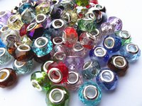 Wholesale European Style Popular Spacer Big Macroporous Glass Crystal Beads for DIY Charm Bracelet Jewelry Mixed color order