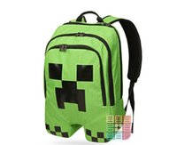 Wholesale 10pcs Minecraft backpack creeper backpack children school bags boys block coolie kids school bag Minecraft christmas gift for children D410