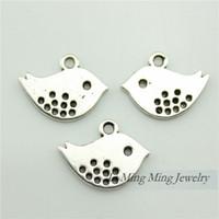 Wholesale 100pcs x13mm Zinc Alloy Bird Charms Pendant Antique Bronze Silver DIY Retro Jewelry Accessories