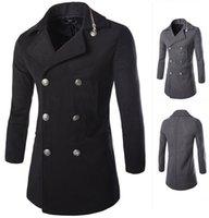 achat en gros de manteaux de jeunesse vente-Vente CHAUDE Haute qualité chaleureuse long manteau à double boutonnage la mode des jeunes hommes Manteaux Trench 1413-F01