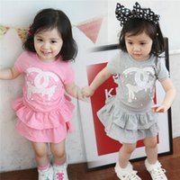 Cheap 2 piece girl clothing set girls clothes set baby T shirt + TUTU skirt kids skirt set fashion outfits Brand suits