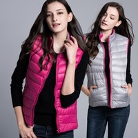 Wholesale North Brand New High Quality winter white duck down vest women casual solid color zipper collar gilet vests double sided wear down jacket