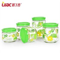 glass canister set - Lilac glass sealed cans moisture stored in glass jars milk snack Canister Set