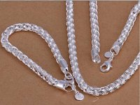 Wholesale Factory price top quaility sterling silver jewery sets silver necklace bracelet SMTS059