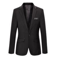 Wholesale Chinese Men Blazer - Wholesale-Men Suits For Wedding Black Velvet Blazer Casual Blazer Chinese Suits Masculino Costume Homme Leather Mens Blazer Jacket Terno