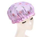 shower cap - High quality Organza with EVA inner double layer waterproof shower caps women bath hat Cute personal shower bonnet
