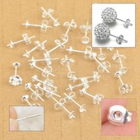 Pins & Needles ear pin - Free Fast Shipping Sterling Silver Jewelry Findings Ear Pin Pairs Stud Earrings With BACK STOPPERS