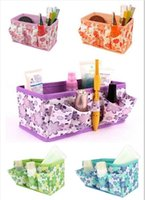 bamboo stationary - Newest Makeup Cosmetic Storage Box Bag Bright Organiser Foldable Makeup Stationary Container Z358