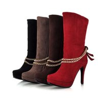 Half Boots Knight Boots Women Fashion Woman Boots Chains Women Shoes Winter Boots High Heels New 2014 WAB-50