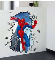 art spiders - Spider Man Wall Stickers Superman Spiderman D Adesivos Decorativos Wall Sticker For Kids Rooms Decoration Wall Decals