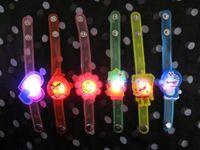 flashing christmas jewelry - 2014 Xmas Children cartoon LED bracelets flash wrist straps luminous watches LED soft rubber hand dance party bar Disco jewelry