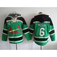 Wholesale Musial Baseball Hoodies Green Baseball Hoodies Cardinals Baseball Jacket for Men Winter Outdoor Warm Baseball Sweaters Sale