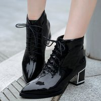 Wholesale Classy Black Women Pointed Shoes Block Heels Lace Up Ankle Boots Fashion Patent Leather