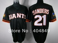 anti aa - 2016 New AA multi type Deion Sanders jersey Giants black ivory orange cooperstown Jersey custom men men baseball