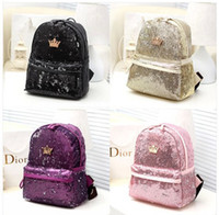 bling backpack - Fashion lady women PU Leather Shoulder handbag Tote Hobo Crown Sequins Double shoulder backpacks Girls bling bling PU bags