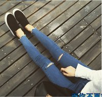Wholesale New arrival Womens fashion casual high waist knee hole ripped skinny jeans dark blue pencil pants