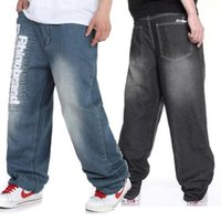 baggy black pants - Summer Autumn Oversized Letter Printed Hip Hop Jeans For Men Black Light Blue Baggy Rock Denim Pants Streetwear Plus Size