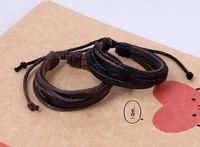 Wholesale Leather Wrap Bracelet for Men Black Leather Braided Cuff Bracelet Vintage Jewelry