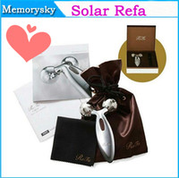 Wholesale 2014 New Fashion Solar Refa Two Circular Roller Face Massager Personal Face Care Health Monitors Jade Face Roller face lift massager