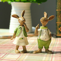 Wholesale easter rabbit decoration creative craft gifts rural green decorative rabbit furnishing articles resin animals creative home decorations