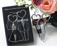 heart bottle opener - Free Ship Sets Chrome Heart Bottle Stopper Wine bottle opener Metal corkscrew In Nice Box