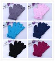 Girls gants Enfants Enfants d'hiver Gants Tricotés bonbons Couleurs complets Gants Gants Finger stretch Étudiants garçons Gants mitaines chaudes 6 Couleurs