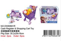 Wholesale Frozen cash Register shopping cart Toy suit kids Elsa Anna Pretend Play Furniture Toys children Educational Interactive toys