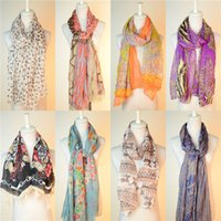 Wholesale New Womens Print Floral yarn Oversized Scarves Shawl Voile Scarf Spring Autumn Long Scarf Stole Neck Warm Scarf Fashion korean Wrap Scarve