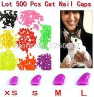 Wholesale Colors Soft Cat Pet Nail Caps Claw Control Paws off Adhesive Glue Size XS S M L