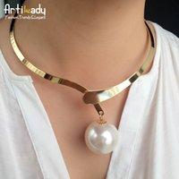 artilady - Artilady Hot Sale Big Pearl Choker Necklace Romantic K Gold Women Collar Necklace Women Jewelry