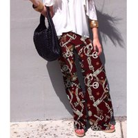Cheap Casual High Waist Flare Wide Leg Long Pants Palazzo Trousers Plus Size