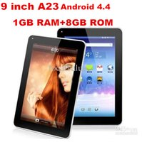 Wholesale 9 inch quot A23 Android Kitkat Tablets Tablet PC Cheap DDR3 GB RAM GB ROM A23 WIFI Dual Camera OTG G SENSOR BLUETOOTH A31S A33