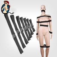 Cheap Black 7pcs set Bondage Restraints Full Body Restraint System Faux Leather Harness Fetish Toy Sex Game