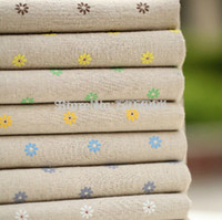 Wholesale New Cut Little Flower Flax Fabric x100cm make for hand bag tablecloth and DIY gift with order lt no track