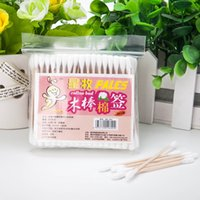 Wholesale Cotton pad cotton swab sterile medical cosmetic cotton double slider200pcs bag ear cleaning Makeup Easy installation