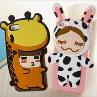 Cheap 3D Cartoon Japan Pear Flower Doll Back Case Sexy Girl Silicone Gel phone Cover for iphone 6 plus 6G 4 4S 5 5S Rubber Bag Shell Dropship