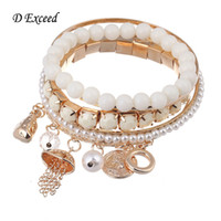 Wholesale European Fashion Multilayer Charm Bracelets Faux Pearl Plastic Beads Coin Pendant Bangle Sets for Women BL152472