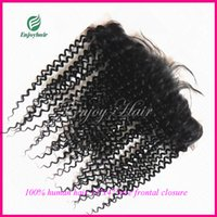 Wholesale Lace Frontal Closure quot x4 quot A indian remy hair free style natural color curly human hair lace frontal closure hair extension