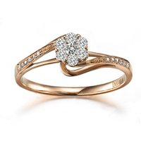 real diamond ring - 18K rose gold diamond ring diamond woman ring flower design Certificed Real Natural Diamond Gold Wedding