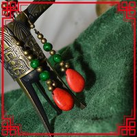 antique chinese jade jewelry - New Ethnic antique brass beads earrings handmade vintage moutain jade thailand jewelry Chinese red turquoise dangle earrings