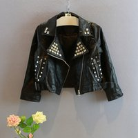 age rivets - 2015 Autumn New Arrival Children Short Coat Girls Fashion Motorcycle Leather Clothes Korean Style Kids Rivet Jacket Fit Age SS133
