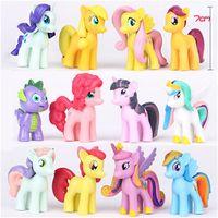 Wholesale pony set Anime Cartoon My Little Pony Loose Figures Pony PVC Action Figure kids girls Toys Dolls approx cm DHL