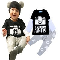 Wholesale 4sets Newborn Baby Costumes Sets Camera Printed T shirt Tops Pants Set Baby Boy Clothes Sets INS Brand Camera Baby Clothing Set