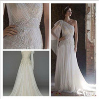 handkerchief dresses - Free Shipipping NEW One Shoulder tulle Gown with Handkerchief Hemline Style Wedding Dresses Embroidery Beaded Chiffon Draped