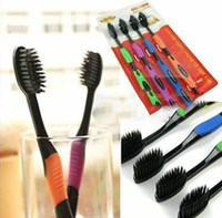 Cheap Bamboo Charcoal Toothbrush Odontologia Wholesale Free Shipping 4pcs lot Bamboo Toothbrush of Dental Care for Soft Brush WC37