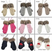 Wholesale 5Pairs New Women s Ladies Wool Knitted Winter Thickening Handmade Warm Fur Gloves