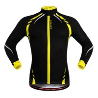 anti reflective - Fleece Thermal Cycling Jackets Yellow Windproof Long Sleeve Jersey MTB Bike Bicycle ciclismo Reflective Cycling Clothing WOSAWE