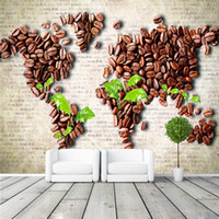 background coffee - Coffee beans map Wall Mural Unique Design photo wallpaper Customize Wallpaper Home decor Coffee shop Hallway Bedroom Sofa TV background wall