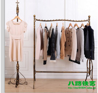 floor stand display shelf - Wrought iron high end clothing shelves floor display shelf Hang clothes rack display stand men s shelves
