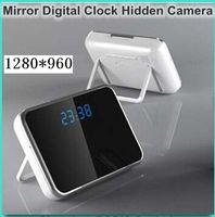 Wholesale 1280 HD Spy Clock Camera Digital Mirror Clock Hidden Pinhole Camera DVR T1000 with Motion Detection Remote Control in retail box